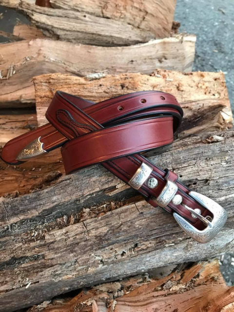 "1 1/2"" Old West English Bridle Leather Ranger Belt"