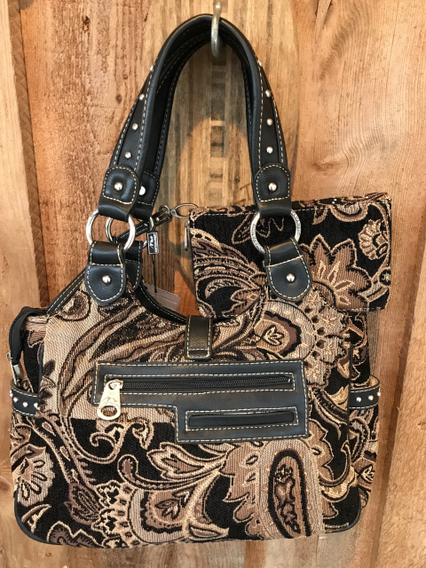 MW58-8110 BLACK Montana West Western Buckle Floral Collection Handbag