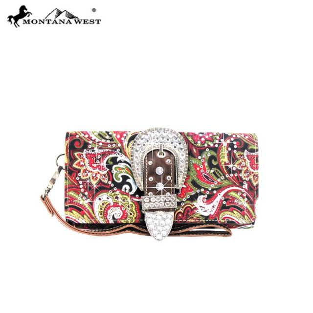 FBB.G-8295 Red Montana West Concealed Carry Paisley Cross Body Bag and Matching Wallet Set