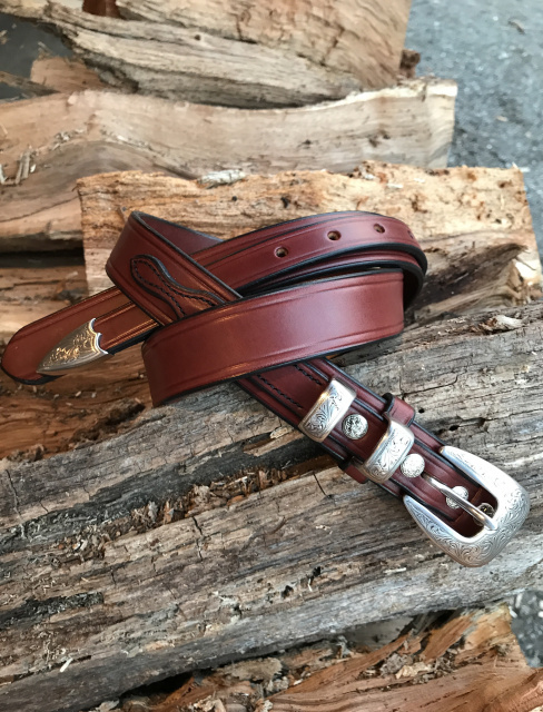 "1 1/4"" Old West English Bridle Leather Ranger Belt"