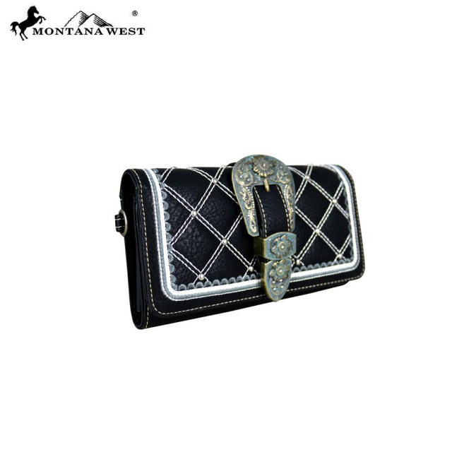 MT-703G-8085 Belt Buckle Quilted Handbag and FREE Matching Wallet