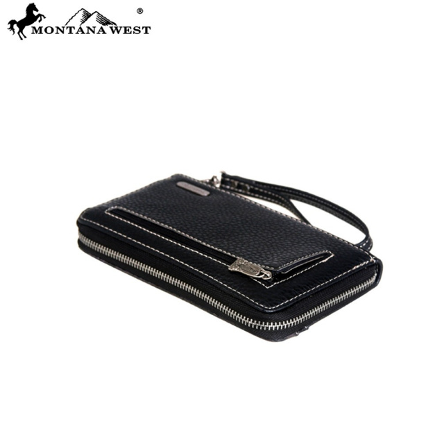 MW286-W003 Montana West Embroidered Zip Wallet Black