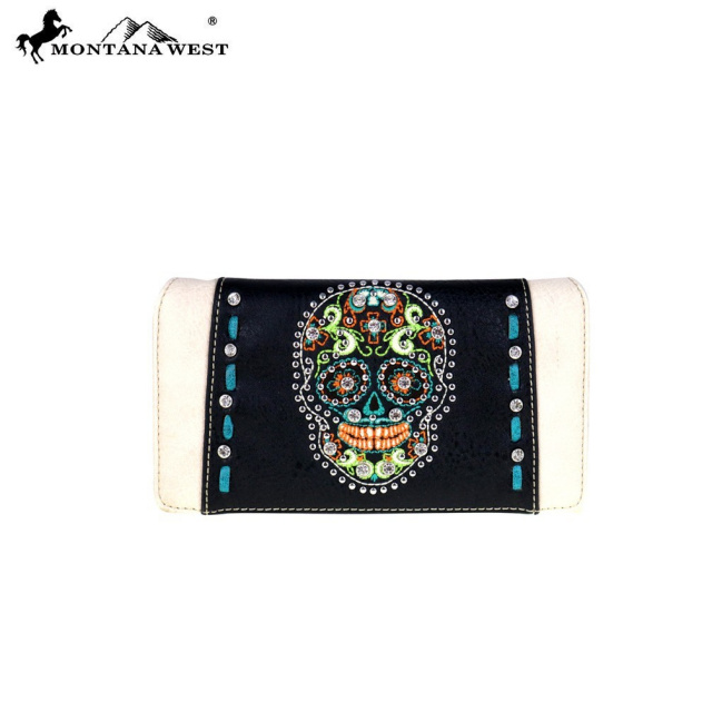 MW480-8372 Montana West Sugar Skull Collection Tote and Matching wallet
