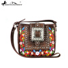MW345-8360 Montana West Buckle Collection Crossbody and Matching Wallet - Brown